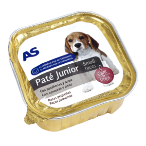 As alimento para perros junior con carne de 150g. en tarrina