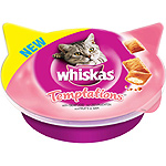 Whiskas temptations snacks gato marisco envase de 60g.