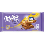 Milka chocolate con leche galleta tuc tableta de 100g.
