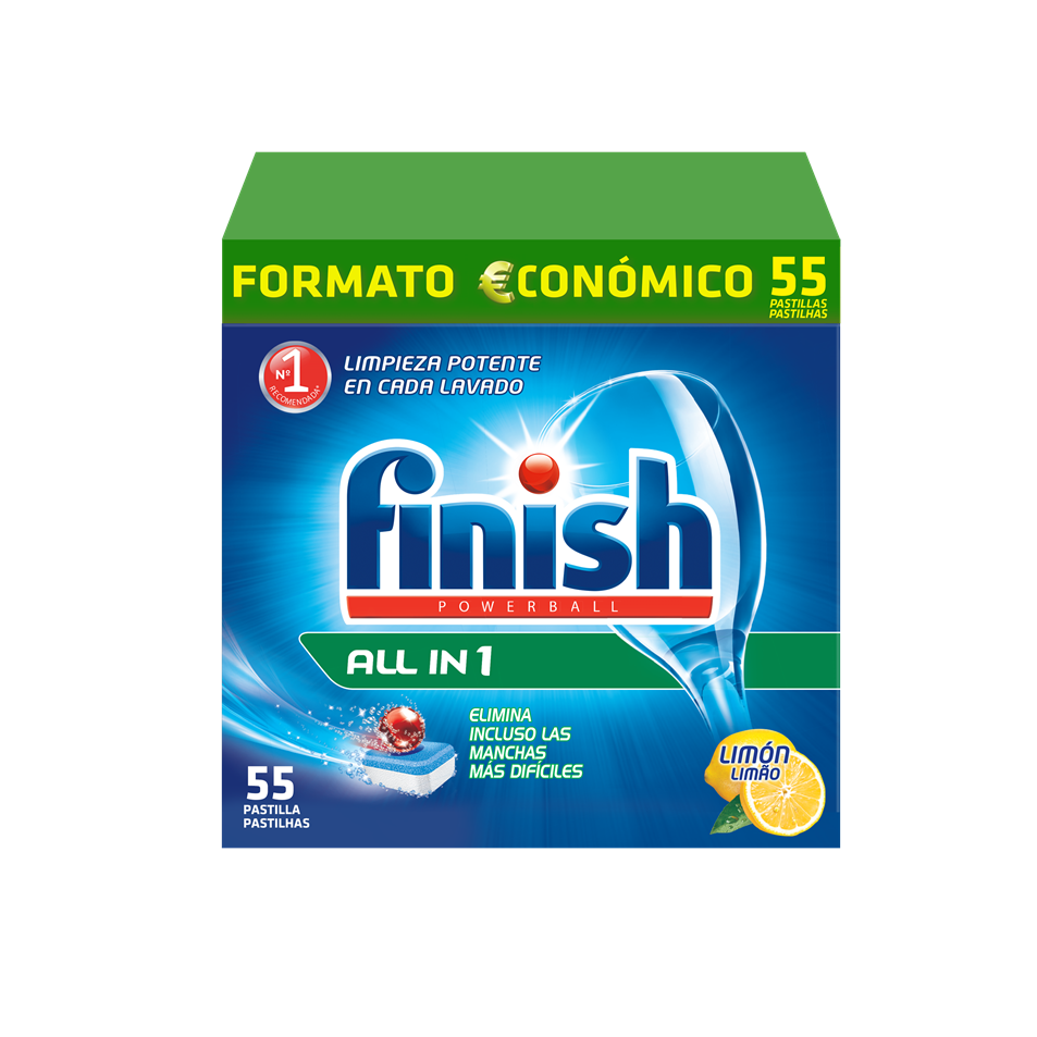 Finish detergente lavavajillas power ball todo en 1 limon 55 en pastilla