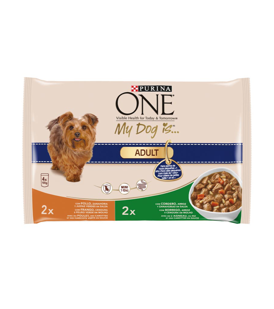 Purina One my dog is adult alimento perro raza mini con pollo verduras con cordero arroz de 100g. por 4 unidades en bolsa