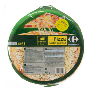 Carrefour pizza 4 quesos de 580g.