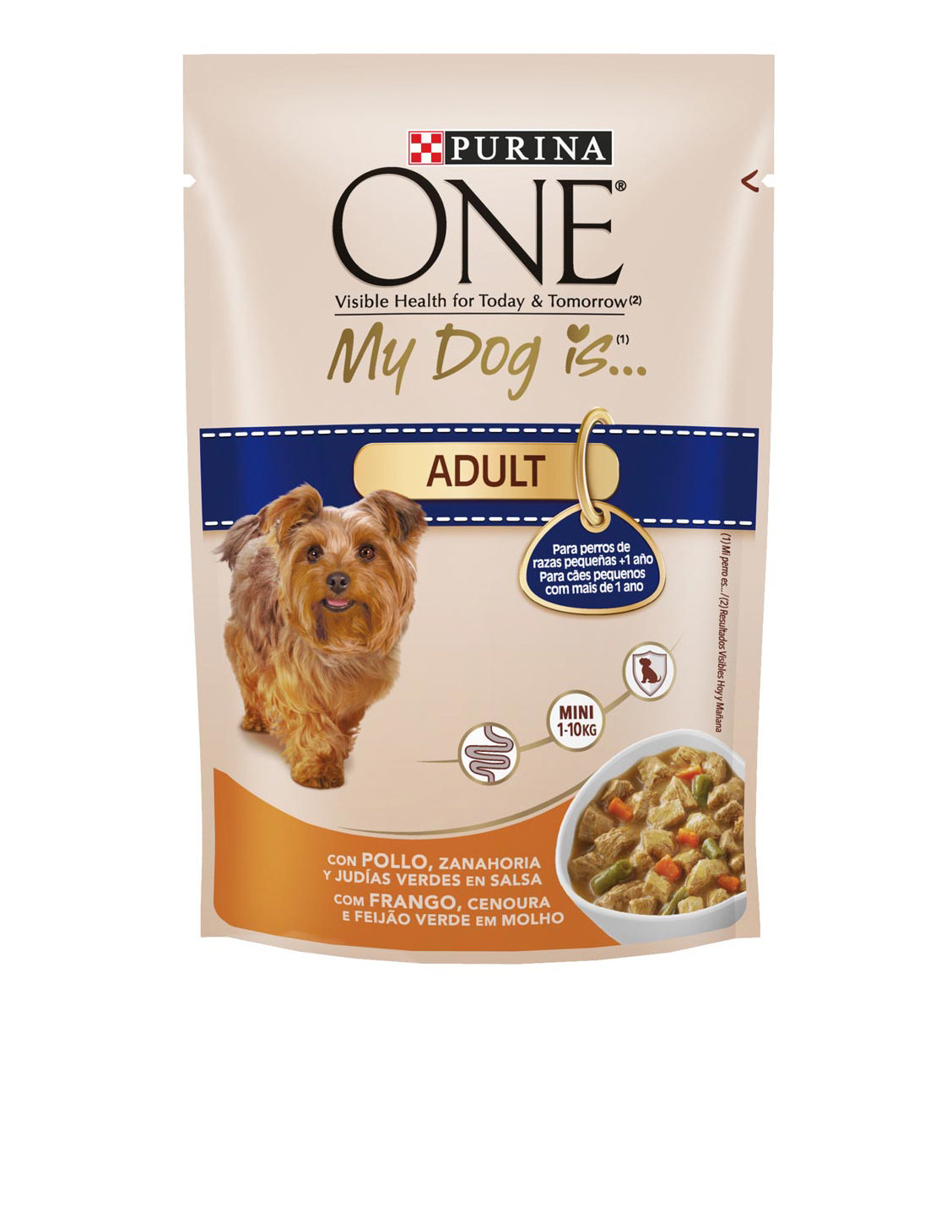 Purina One Mini my dog is adult alimento perro raza mini con pollo verduras de 100g. en bolsa