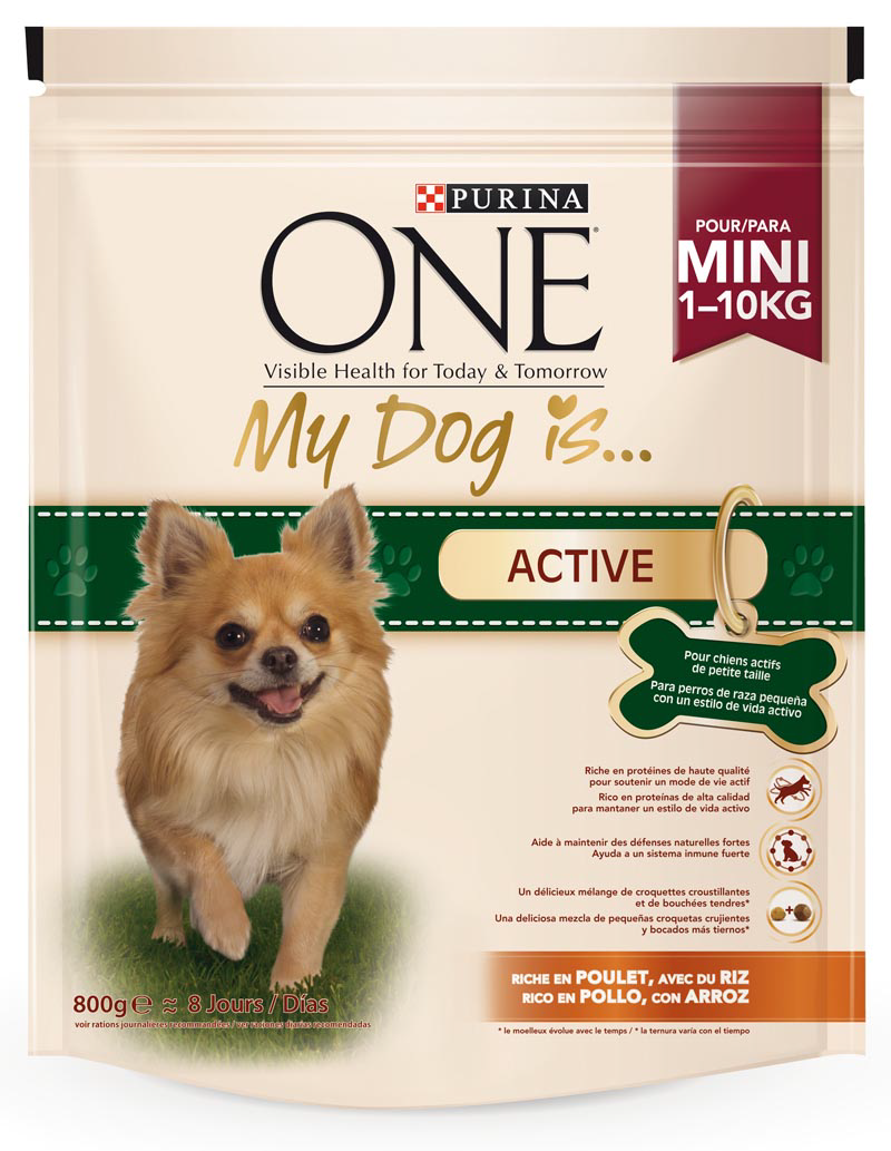 Purina One one my dog is active mezcla croquetas crujientes bocados tiernos rico en pollo arroz perros mini de 800g. en bolsa