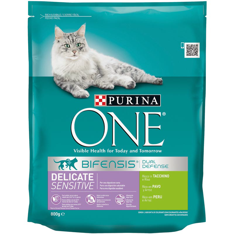 Purina One digestion sensible alimento gatos rivo en pavo arroz envase de 800g.