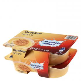 Carrefour natillas con galleta entera de 125g. por 4 unidades
