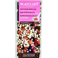 Blanxart chocolate negro 72% con yogurt&fresas tableta de 100g.