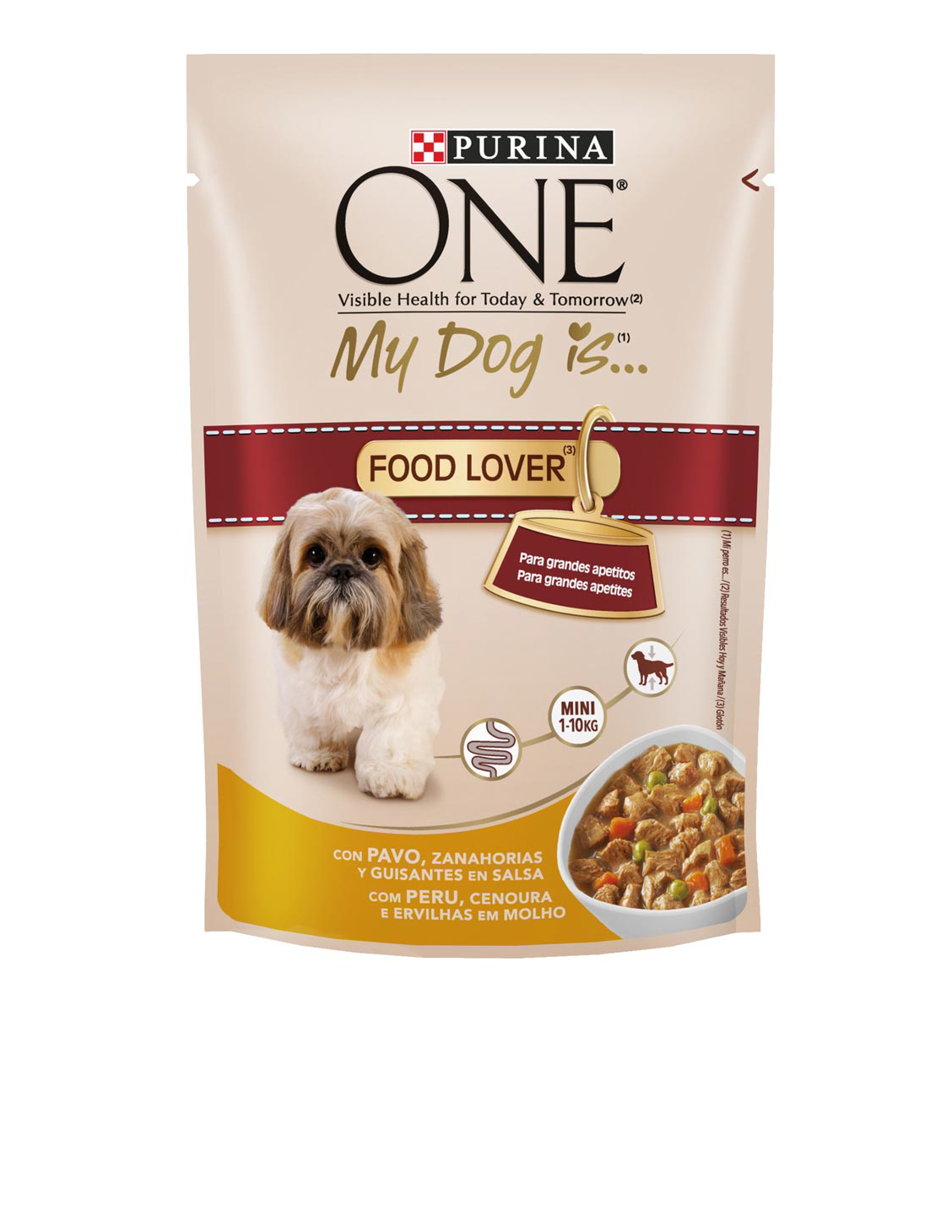 Purina One my dog is food lover alimento humedo perros raza mini pavo con verduras en salsa de 100g. en bolsa