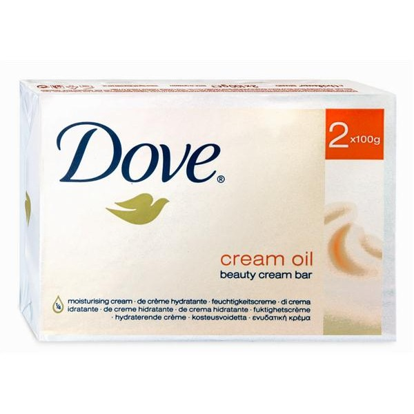 Dove pastilla jabon cream oil bar de 100g. por 2 unidades
