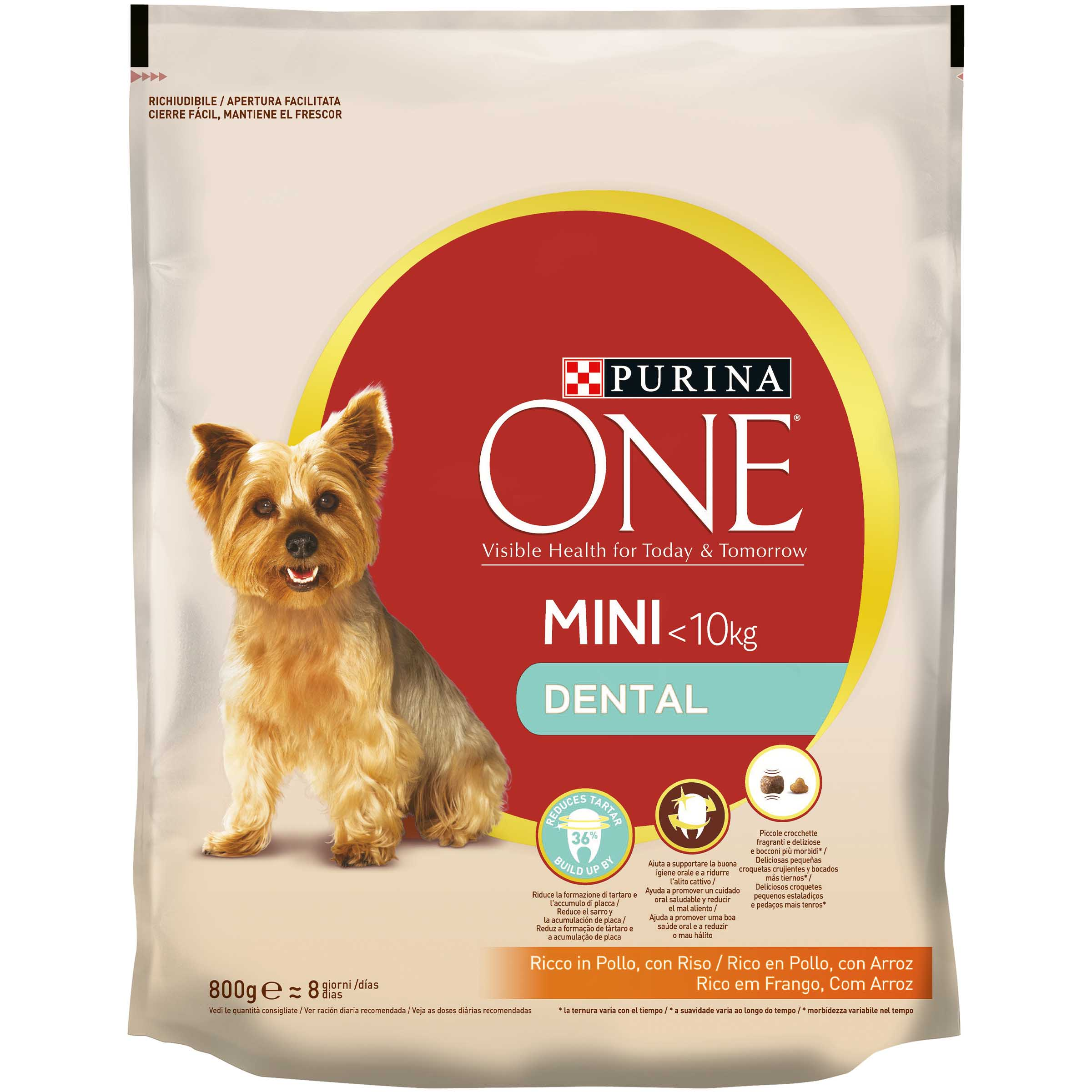 Purina One dental alimento perro adulto raza mini cuidado dental de 800g. en paquete