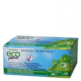 Carrefour Eco tampon sin aplicador normal planet por 24 unidades