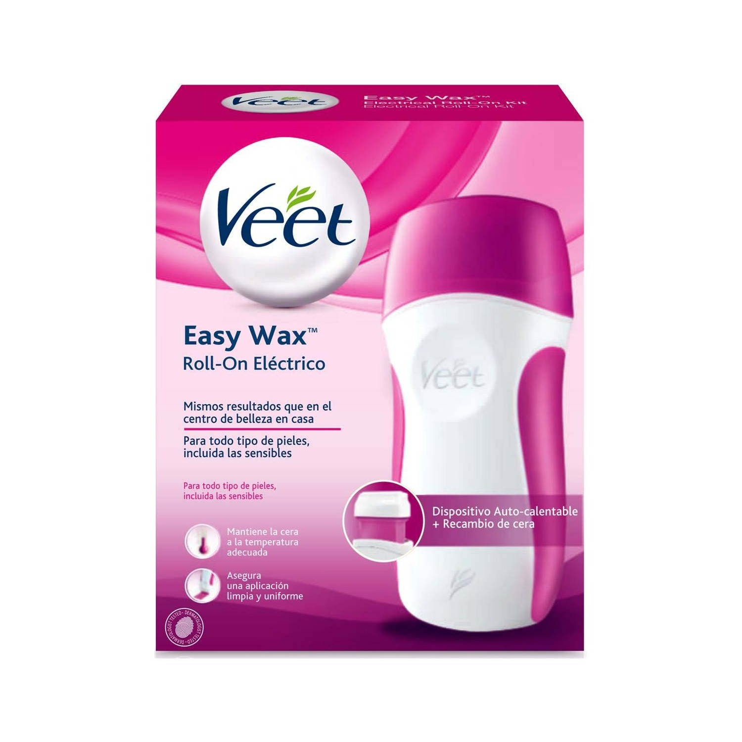 Veet kit cera tibia easy wax roll on electrico con dispositivo auto calentable recambio estuche