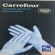Carrefour guantes nitrilo desechables sin polvo talla pequeña mediana 100 ud