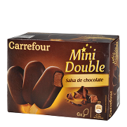 Carrefour helado mini bombon doble chocolate por 6 unidades