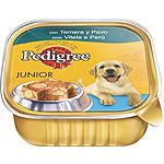 Pedigree junior alimento perro con ternera pavo de 300g. en tarrina