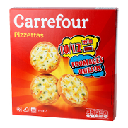 Carrefour pizza mini 3 quesos de 270g.