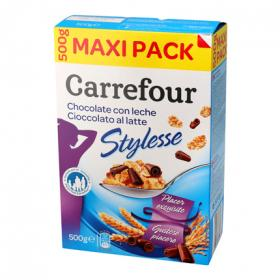 Carrefour cereal stylesse con chocolate con leche de 500g.