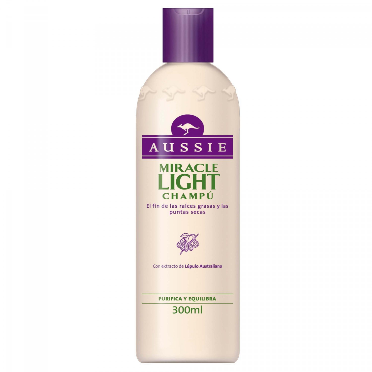 Aussie champu miracle light con extracto lupulo australiano purifica equilibra de 30cl. en bote
