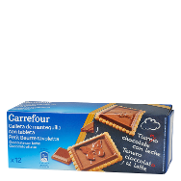 Carrefour galleta con tableta chocolate con leche de 150g.