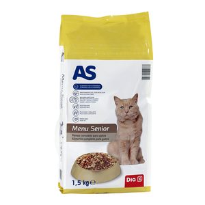 As alimento para gatos senior de 1,5kg. en bolsa