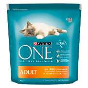 Purina One menu gato adulto rico en pollo cereales integrales one de 800g.