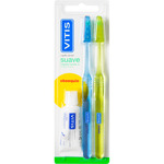 Vitis cepillo dental suave con cabezal normal dureza suave blister regalo pasta dental de 15ml. por 2 unidades
