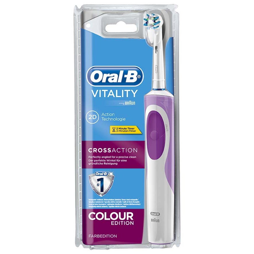 Oral B pack con cepillo dental electrico vitality cross action morado pasta dientes tubo enjuague bucal de 50cl. en bote