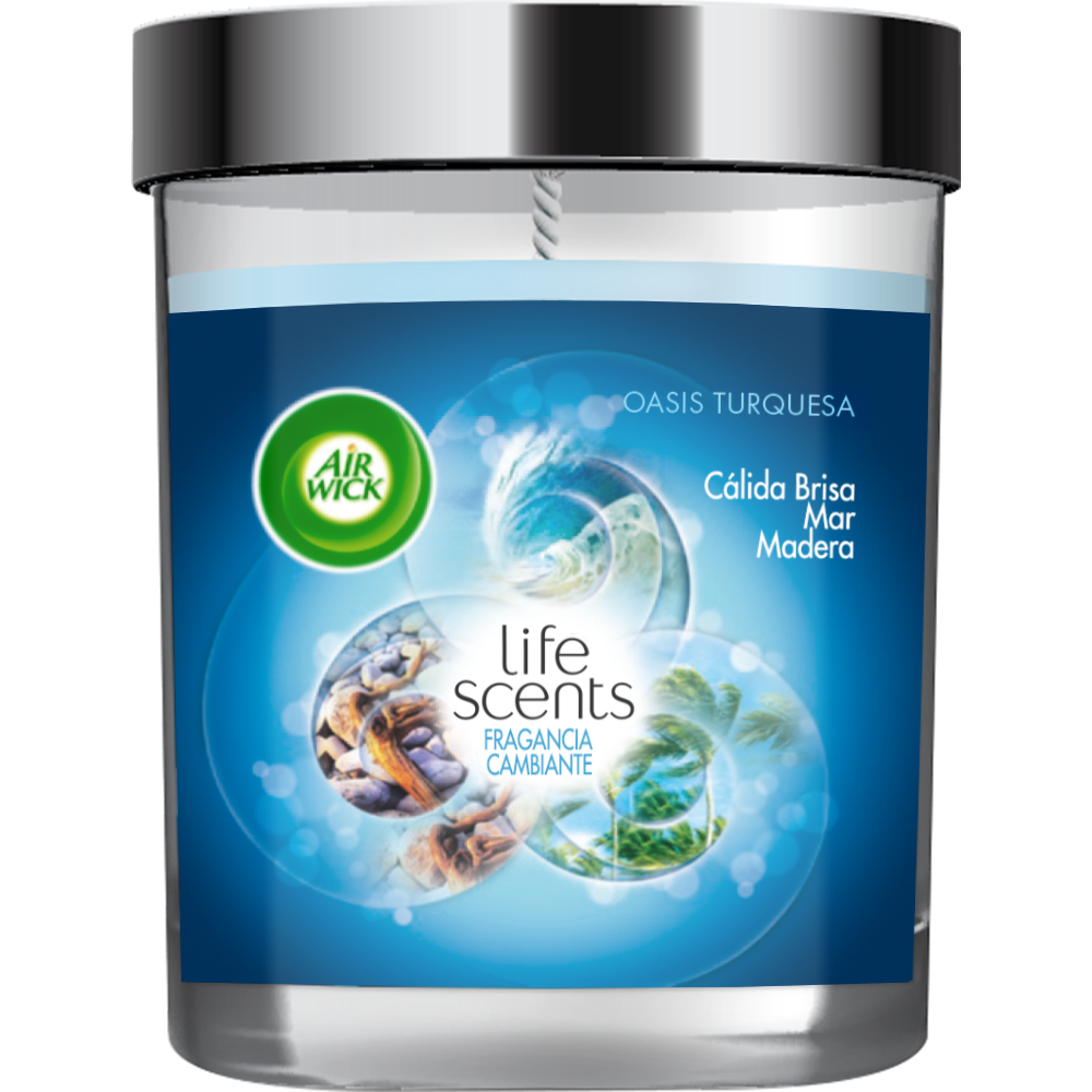 Air Wick ambient vela life scents oasis turquesa
