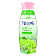 Johnson's gel ducha vita rich revitalizante con aceite semillas uva de 75cl.