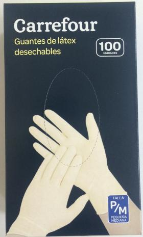 Carrefour guantes latex desechables con polvo talla pequeña mediana 100 ud