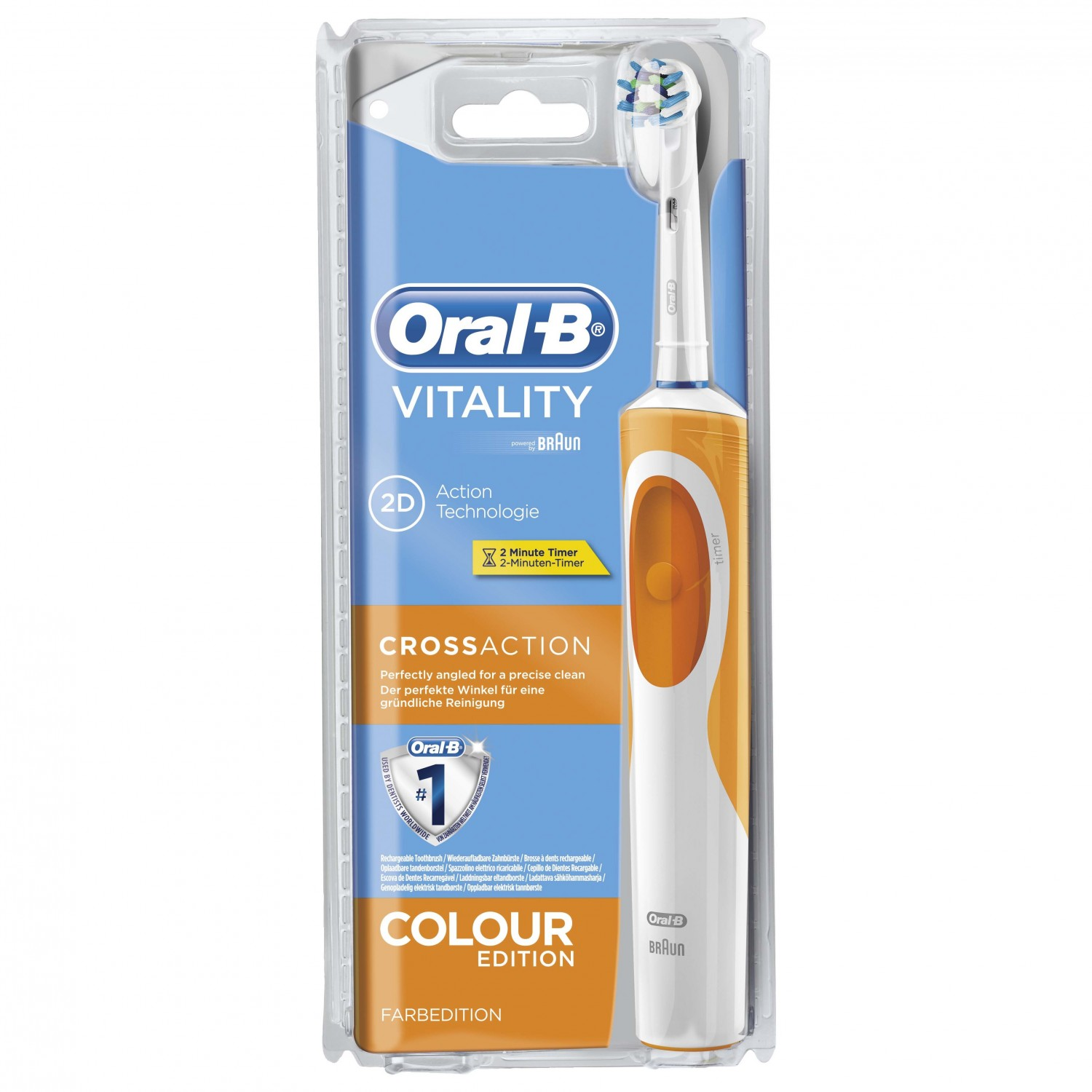 Oral B cepillo dental electrico vitality cross action naranja blister blister