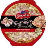 Campofrio finissimas pizza masa superfina jamon bacon queso envase de 335g.