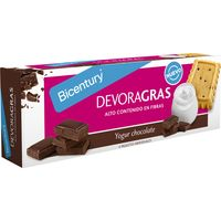 Bicentury devoragras galletas yogur chocolate envase de 160g.