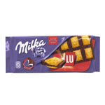 Milka chocolate leche con galleta lu tableta de 87g.