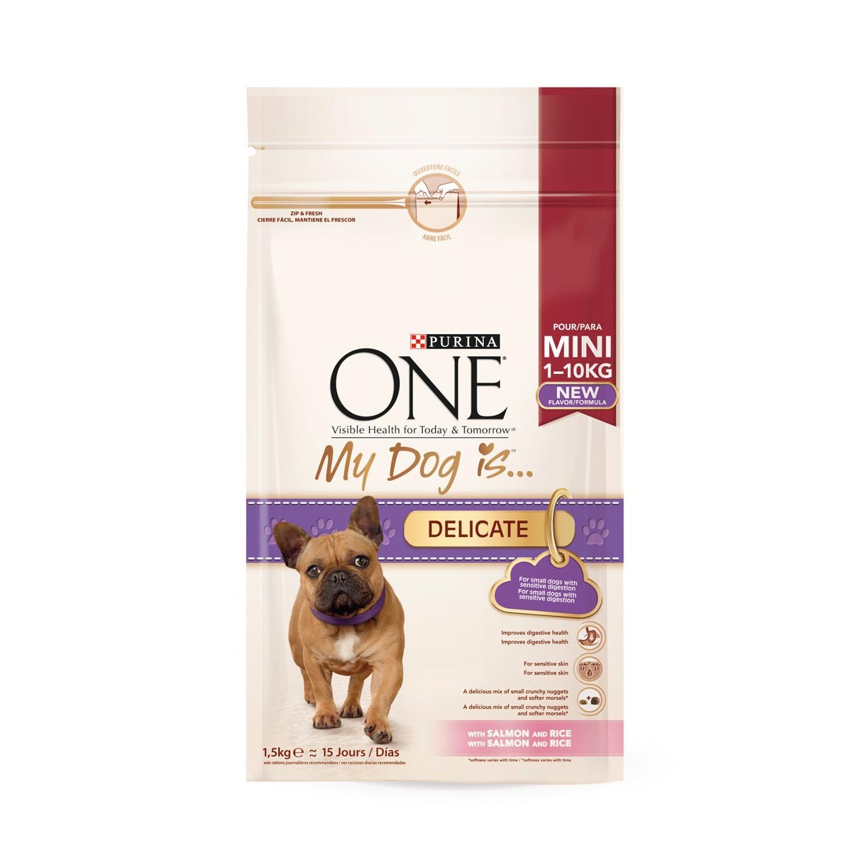 Purina One comida perro my dog is delicate salmon & arroz de 1,5kg.