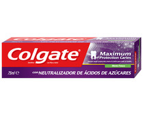 Colgate maximum pasta dentifrica protection caries blanqueador con neutralizador acidos de azucares tubo de 75ml.
