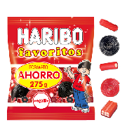 Haribo gominolas favoritos regaliz de 275g.