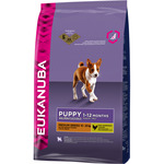 Eukanuba puppy medium breed alimento completo perros junior raza mediana rico en pollo de 3kg. en bolsa