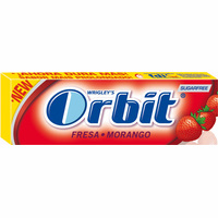 Orbit chicles sabor fresa acida de 14g.