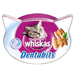 Whiskas dentabits snacks gato cuidado higiene oral envase de 40g.