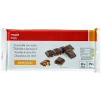 Eroski Basic chocolate con leche almendras tableta de 150g.