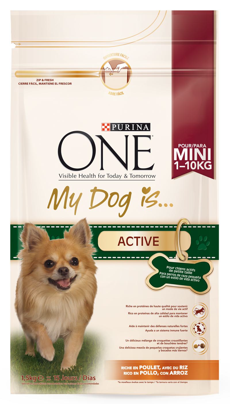 Purina One one my dog is active mezcla croquetas crujientes bocados tiernos rico en pollo arroz perros mini de 1,5kg. en bolsa