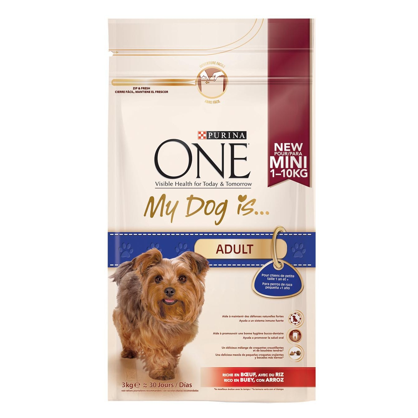 Purina One my dog is perro mini adult buey arroz de 3kg.