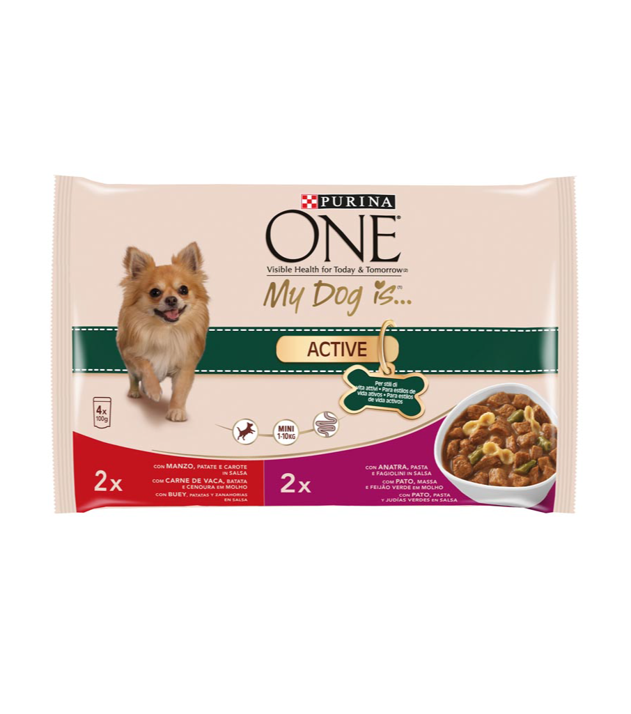 Purina One my dog is active seleccion carnes perros 1-10 de 100g. por 4 unidades en bolsa