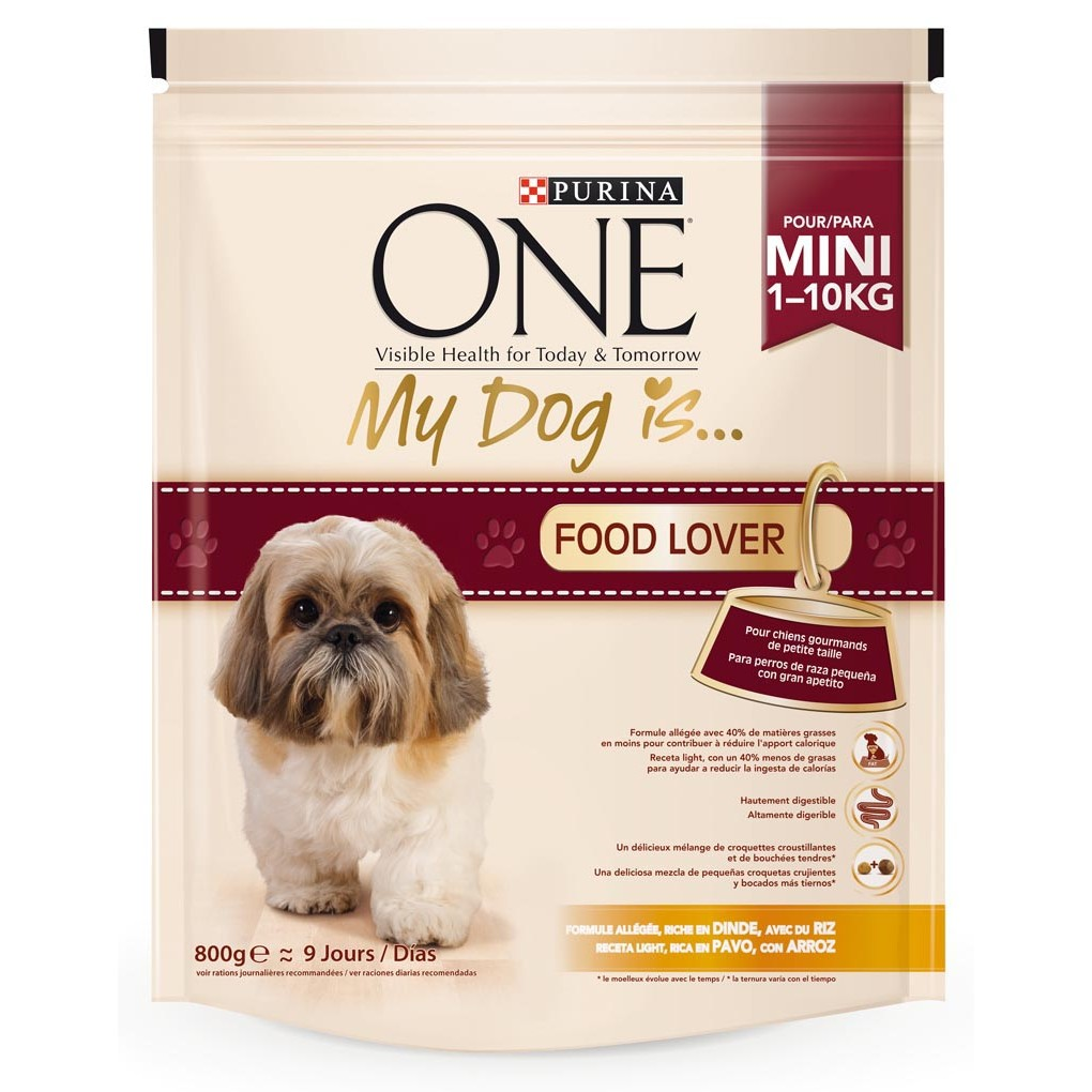 Purina One my dog is food lover mezcla croquetas crujientes bocados tiernos rico en pavo arroz perros mini de 800g. en bolsa