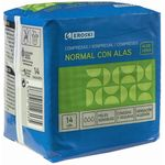 Eroski compresa normal con alas ultra aloe vera 14u